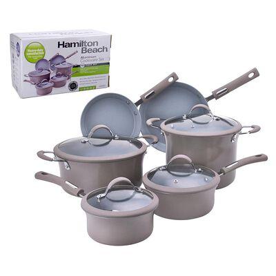 Hamilton Beach 10 Piece Aluminum Cookware Set, Taupe