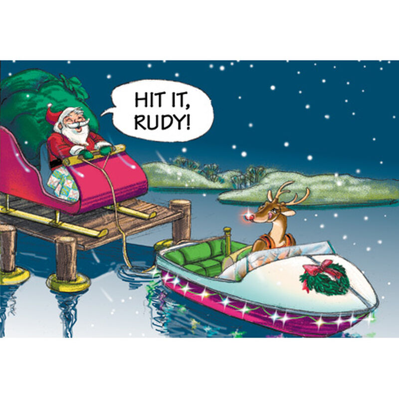 Personalized Santa And Rudy Take Off Christmas Cards image number 1