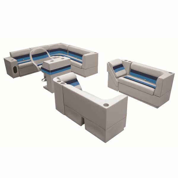 """Deluxe Pontoon Furniture w/Toe Kick Base, Complete Big """"L"""" Package, Gray/Navy/Bl"""