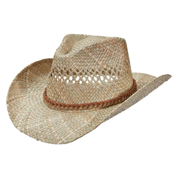Dorfman Pacific Men's Outback Seagrass Leather Trim Hat
