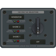 Blue Sea AC Rotary Panel: 120V, 30A, 3 Sources, 2 Poles, 3 Positions+OFF