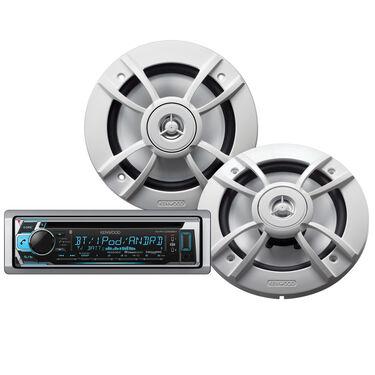 """Kenwood KMR-D368BT Marine Bluetooth CD Receiver Package w/Two 6.5"""" Speakers"""