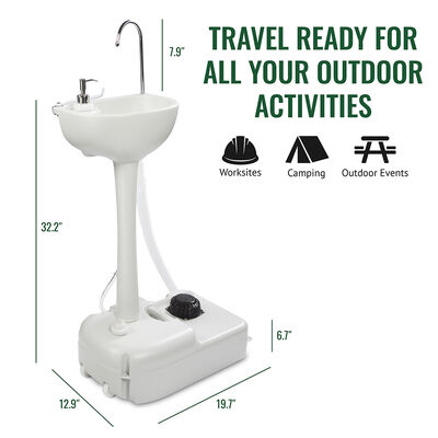 Outdoor 5 Gallon Portable Sink with Hose Adapter, Foot Pump, and Soap Dispenser