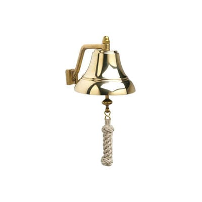 """Weems & Plath 6"""" Brass Bell with Off-White Monkey's Fist Lanyard"""