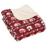 """Let's Go Camping Throws, 50"""" x 60"""", Berry"""