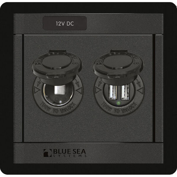 Blue Sea 1478 360 Panel With 12V Socket And Dual USB Charger
