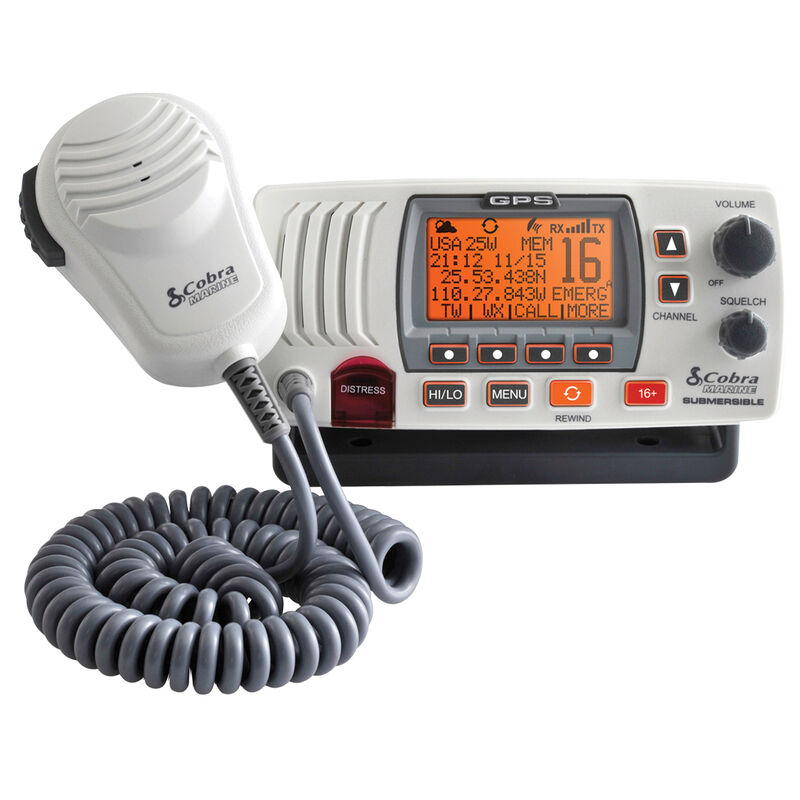 Cobra Marine MR F77 GPS Class-D Fixed-Mount VHF Radio with GPS Receiver, white image number 1