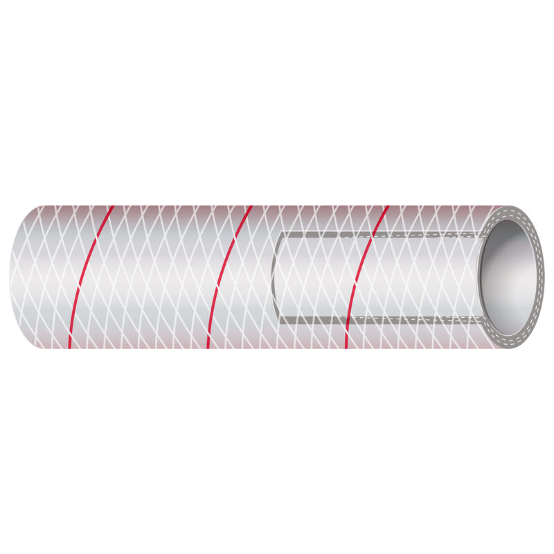 """Shields 1"""" Polyester-Reinforced Red-Tracer Tubing, 10'L image number 1"""