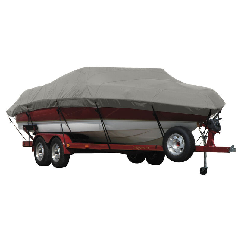 Exact Fit Covermate Sunbrella Boat Cover for Tracker Party Barge 21 Signature Party Barge 21 Signature W/Bimini Laid Aft O/B image number 4