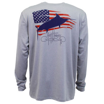 Guy Harvey Men's Patriot Performance Pro UVX Long-Sleeve Pocket Tee