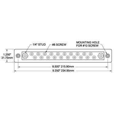 Blue Sea 150-Amp Common Busbar, (20) #8-32 Terminal Screws