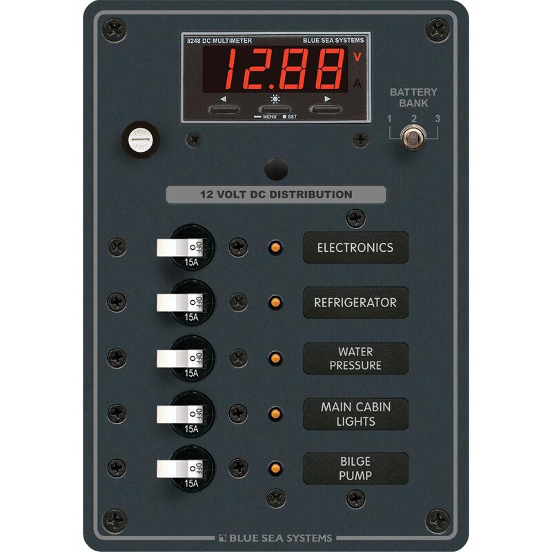 Blue Sea 12/24V DC Branch Circuit Breaker Panel, 5 Position w/Digital Multimeter image number 1