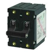 Blue Sea AC Circuit Breaker A-Series Toggle Switch, Double Pole, 32A, Black