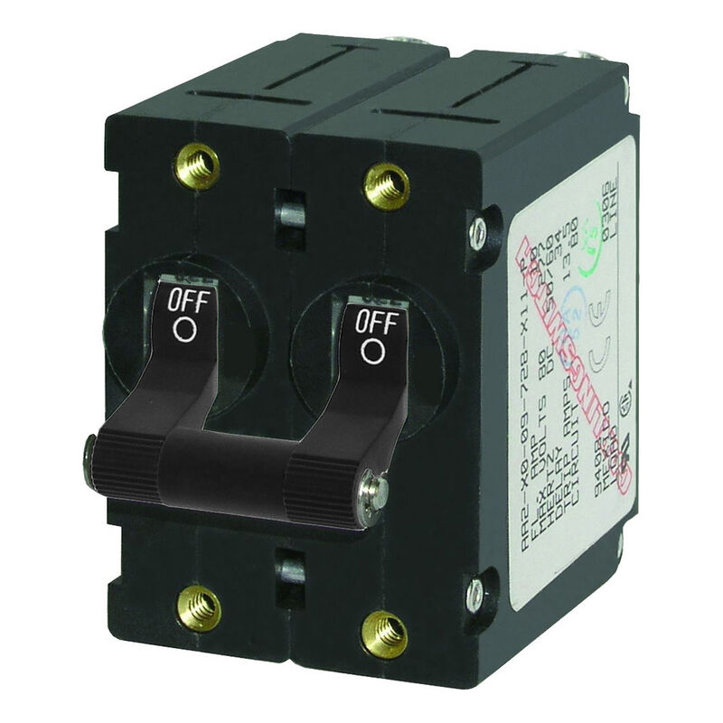 Blue Sea AC Circuit Breaker A-Series Toggle Switch, Double Pole, 32A, Black image number 1