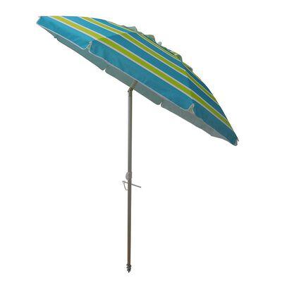 "7 ft Beach Umbrella ""Blue/Green"" with Travel Bag"
