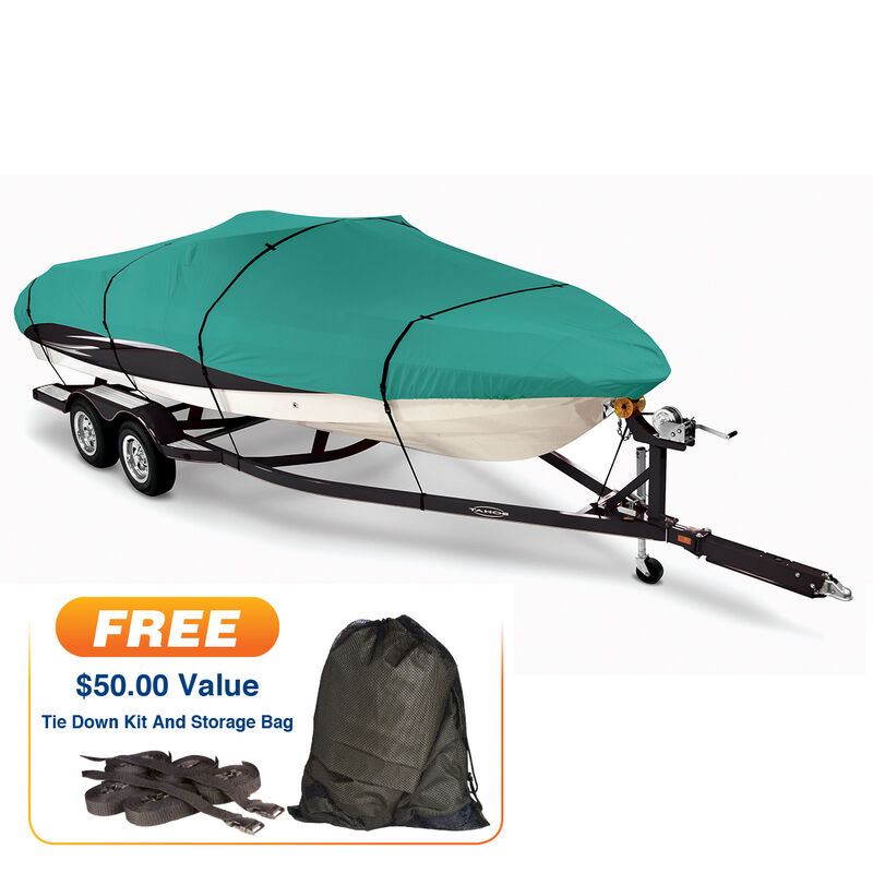 """Teal Covermate Imperial Pro Fish and Ski Boat Cover, 16'5"""" max. length image number 1"""