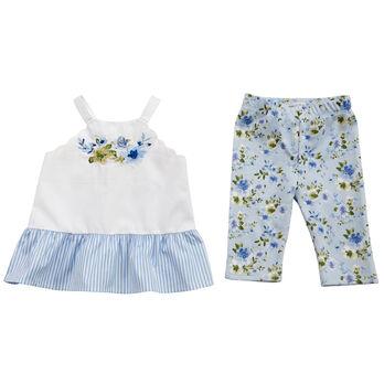 Mud Pie Girls' Floral Tunic And Capri Set
