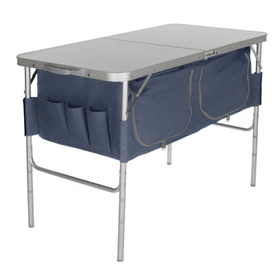 Fold-N-Half Table with Heat-Resistant Top and Storage Bins