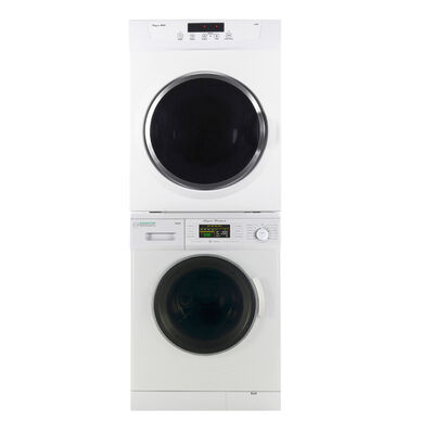 Equator Stackable Washer and Dryer Set, White with EW824N Washer and ED860V Dryer