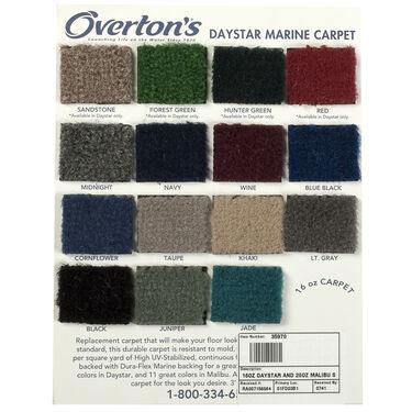 Overton's Daystar/Malibu Carpet Sample Swatch Card