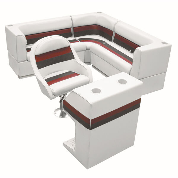 Deluxe Pontoon Furniture w/Toe Kick Base - Rear Group 4 Package, White/Red/Charc