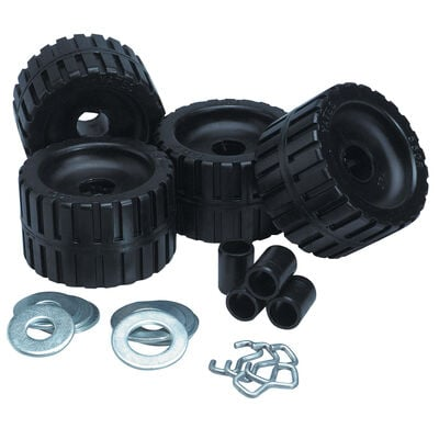 Black Rubber Ribbed Roller Kit