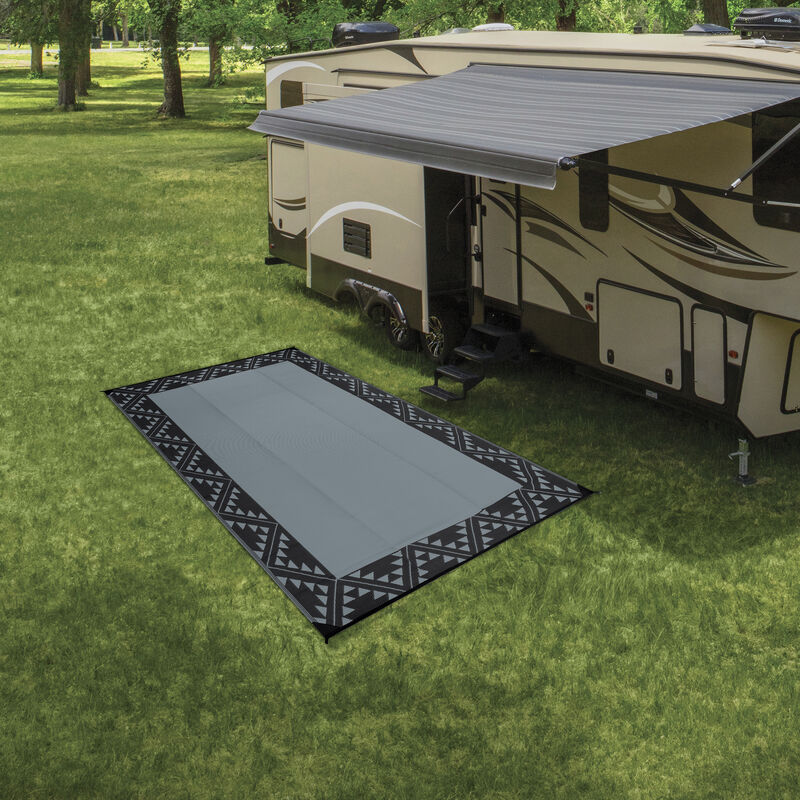 Reversible RV Patio Mat with Aztec Border Design image number 4