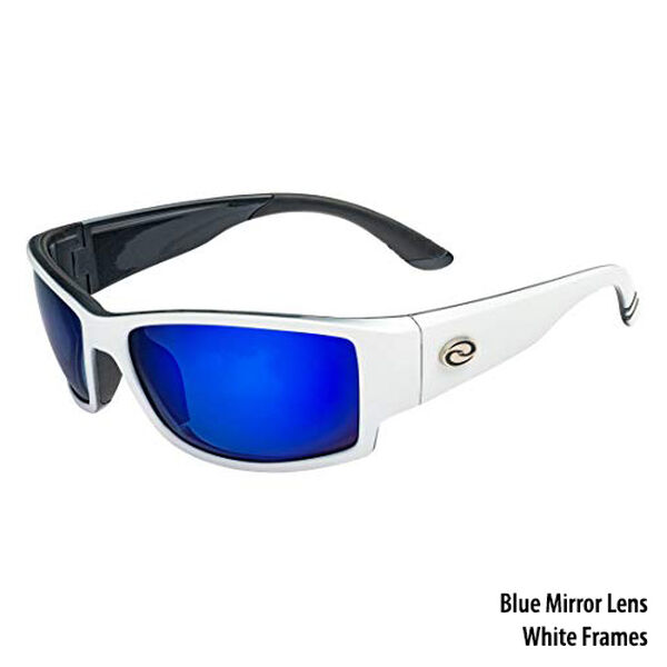 Strike King SK Plus Ouachita Sunglasses - Shiny White Frame, Blue Mirror Lens
