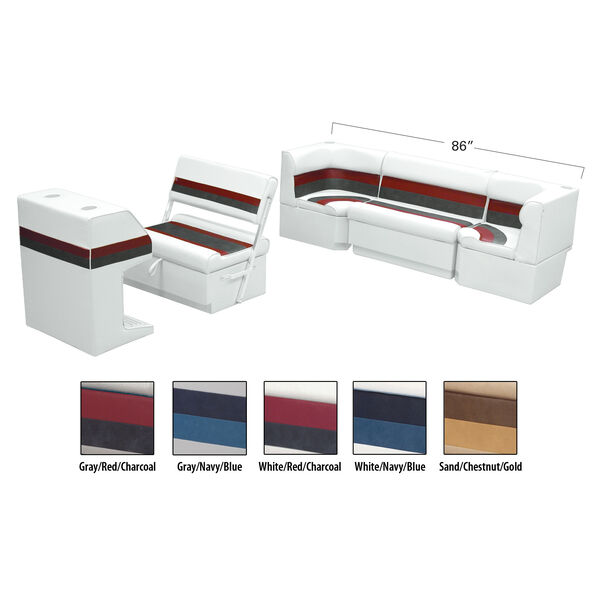 Deluxe Pontoon Furniture w/Toe Kick Base - Rear Cozy Package, White/Red/Charcoal