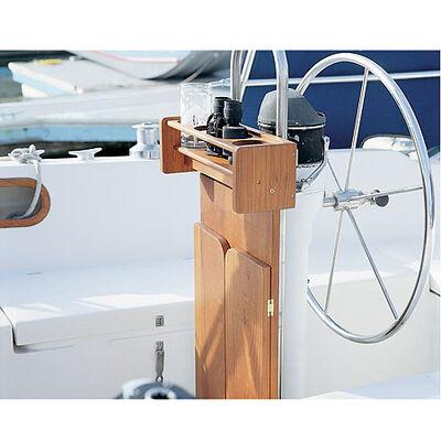 Whitecap Teak Cockpit Table w/Folding Leaves and Four-Drink Holder