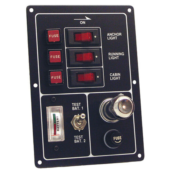 3-Switch Panel With Battery Tester And Lighter
