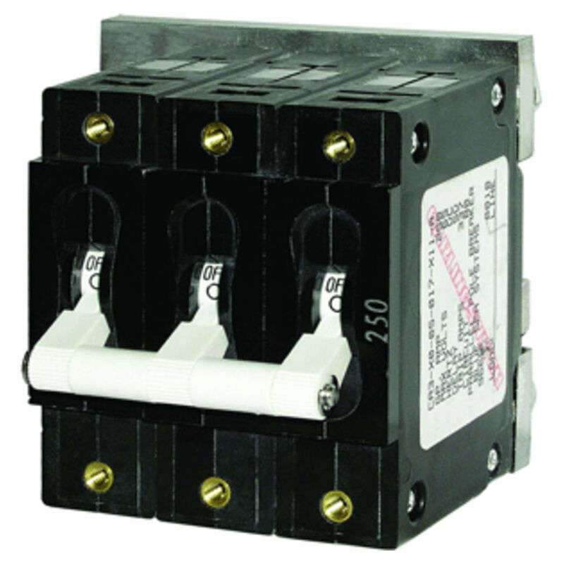 Blue Sea AC Circuit Breaker C-Series Toggle Switch, Triple Pole, 80A image number 1