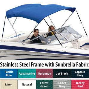 Shademate Sunbrella Stainless 3-Bow Bimini Top 5'L x 32''H 79''-84'' Wide