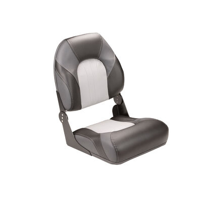 Deluxe Fold Down Pontoon Fishing Seat with High Back - Grey