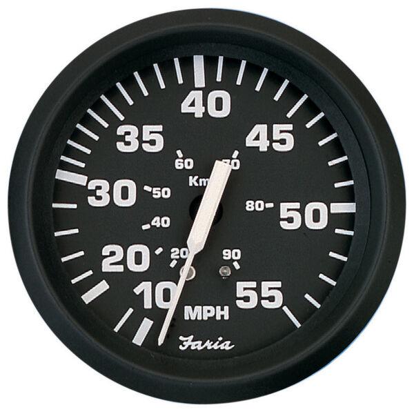 """Faria 4"""" Euro Black Series Speedometer, 55 MPH"""