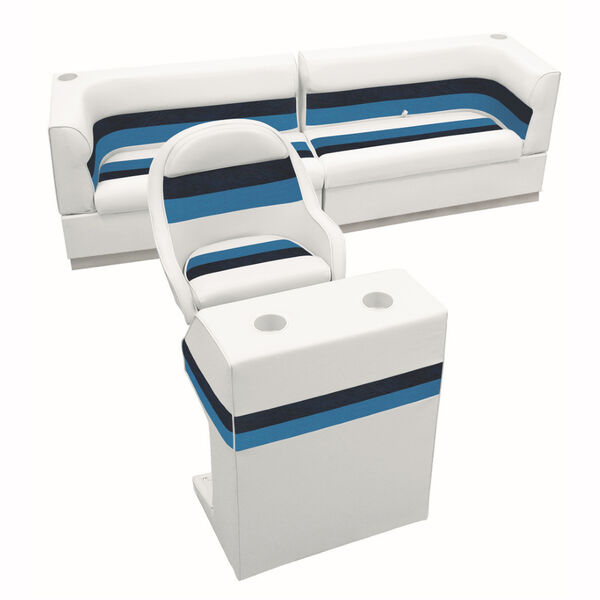 Deluxe Pontoon Furniture w/Toe Kick Base - Rear Traditional Package, White/Nvy/B