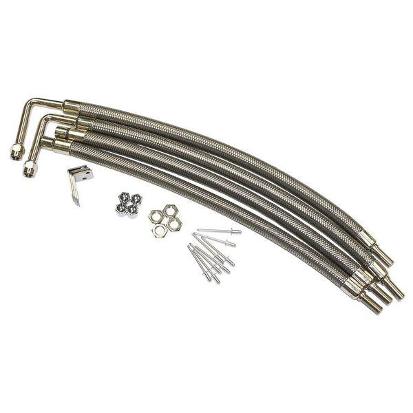 "Dual Tire Inflators - Hub Mount Stainless Steel - 4 Hose Kit for 22"" Aluminum Wheels"