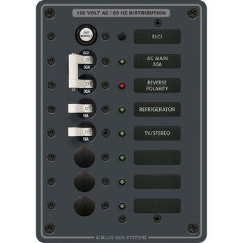 Blue Sea Systems AC Panel, ELCI Main 30A Double Pole + 5 Positions