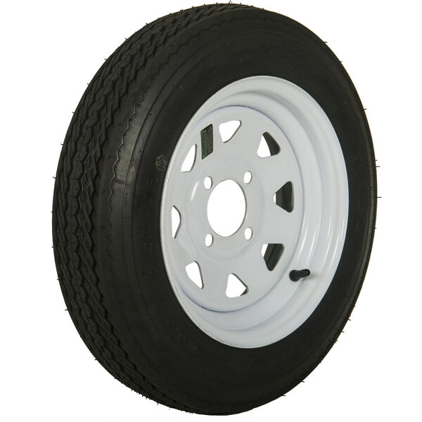 Tredit H188 4.80 x 12 Bias Trailer Tire, 4-Lug Spoke White Rim