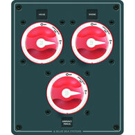 Blue Sea DC Dual Battery Management Panel, 3 Single Circuit ON-OFF Switches