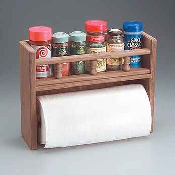 SeaForce Teak Spice Rack w/Paper Towel Holder
