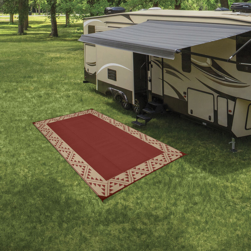 Reversible RV Patio Mat with Aztec Border Design image number 14