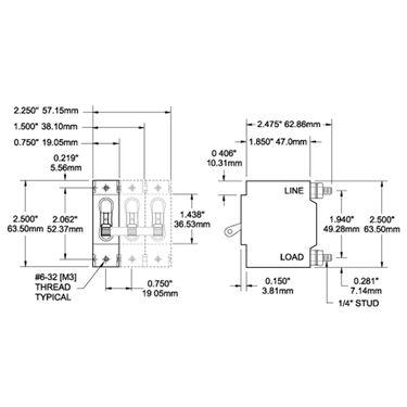 Blue Sea Circuit Breaker C-Series Toggle Switch, Single Pole, 50A, White