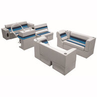 Deluxe Pontoon Furniture w/Classic Base - Complete Boat Package E, Gray/Navy/Blu
