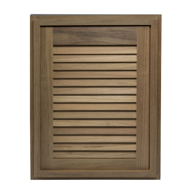 """Whitecap Teak 15"""" x 20"""" Louvered Door & Frame, Right-Hand Opening image number 2"""
