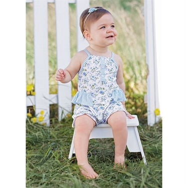 Mud Pie Girls' Floral Ruffle Bubble