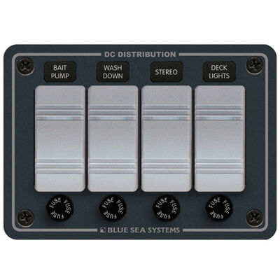 Blue Sea Water-Resistant Contura Switch Fuse Panel - 4-Position Horizontal