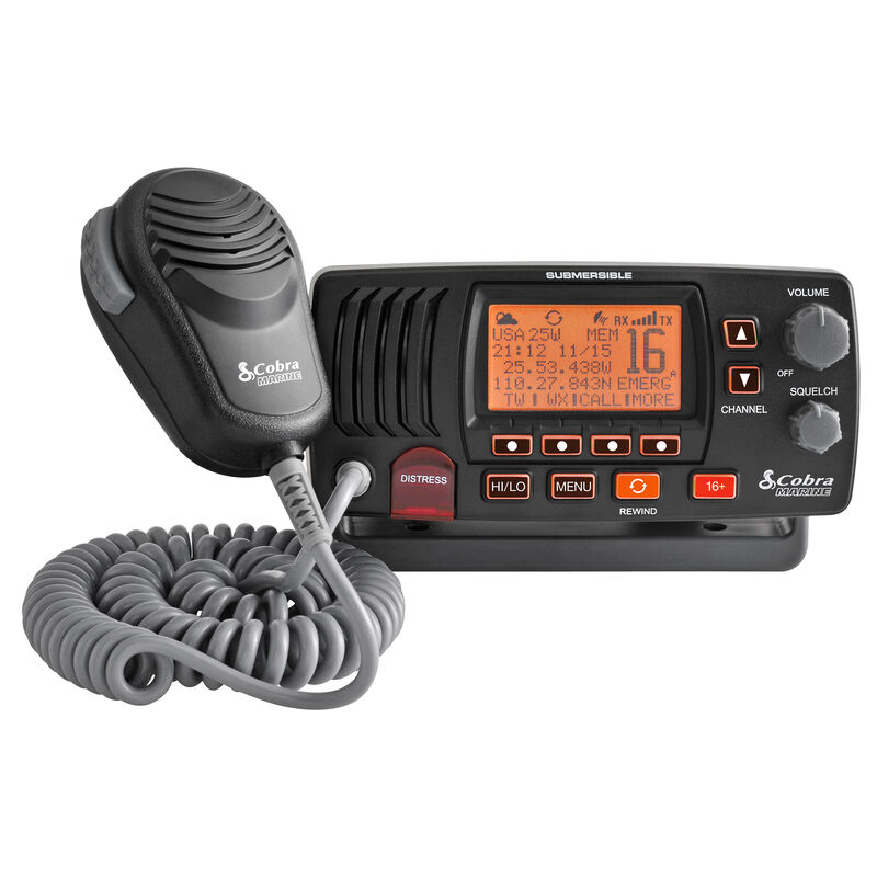 Cobra Marine MR F57 Class-D Fixed-Mount VHF Radio, black image number 1