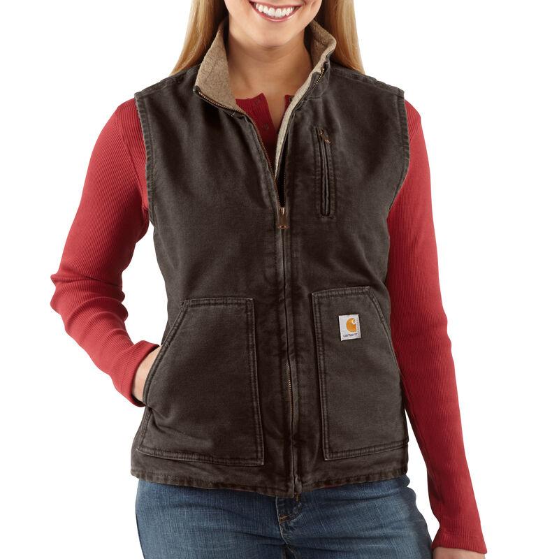 Carhartt Women's Sandstone Sherpa-Lined Mock-Neck Vest image number 3