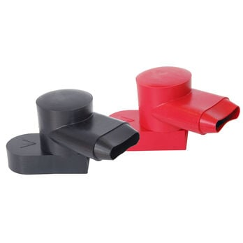 Blue Sea 4001 Black/Red Rotating CableCaps, Pair